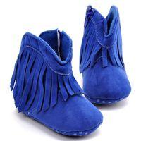 Wholesale Retail Winter Warm Infant Baby Girls Boys Soft Sole Antiskid Shoes Tassels Design Boots Prewalker First Walkers Toddler Shoe