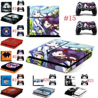 Cheap 2016 Mix Wholesale Hot manga PS4 Sticker Vinly Skin + 2 controller skins Decal Stickers for PS4 System Playstation 4 Console Free Shipping