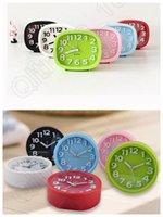 Wholesale Silent Digital Clock - 20PCS Modern Mute Silent Plastic Desk Table Bed Alarm Clock Candy Colors Simple Students Clock LLA173