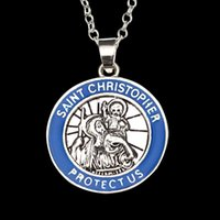 american saints - 2016 vintage silver plated alloy Christopher Patron saint of travelers amulet Round blue edges pendant necklace men boy ZJ