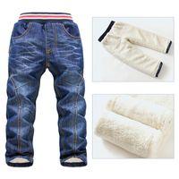 Wholesale Children Fashion Trousers New Kids Jeans For Boys Brand KK Rabbit Children Full Pants Jeans Boys Warm in the Winter Jeans