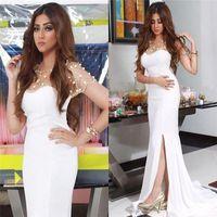 2016 Cristaux Nancy Ajram Celebrity White Split Robes de soirée Mermaid  Scoop Illusion Neck perlé Long