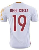 Wholesale 16 Spain Soccer Jersey Thai Quality INIESTA DIEGO COSTA FABREGAS SILVA RAMOS Football Uniforms Shirts