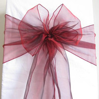 Wholesale 100 Dark Red Organza Chair Sashes Crimson Deep Red Crystal Table Sample Fabric wedding Bow Gift SASH