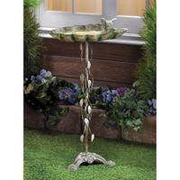 beautiful patios - Beautiful Crafted Cast Iron Verdigris Leaf Birdbath Patio Garden Decor Yard Art