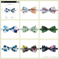 Wholesale Men s Bow tie Fullprint Bow Tie Multicolor Plain Silk Polyester Cute Bow Ties Whole Sale For Party Wedding