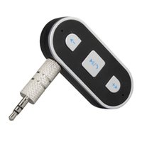 Wholesale Bluetooth Car Kit Audio Receiver mm AUX Handsfree Car Bluetooth Stereo Music Adapter for iPhone Samsung Mobile Phones iPad Retail Box