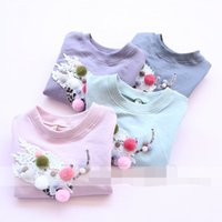baby vases - Everweekend Sweet Baby Girls Casual Embroidered T shirt Candy Color Girls Top Clothing Embroidered Vase Cute T shirt