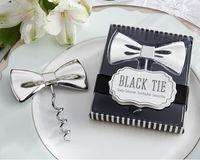 airline bottles - 20pcs Wedding favor Black Tie Bottle Opener Bow Tie Red Wine Corkscrew Groom favors Wedding Party Gifts