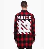 Wholesale 2016 men and women Tide Brand Off White Mother Number Thirteen Twill Printing Stylish England Plaid Shirt OFF White No13 Red Shirt Pyrex