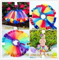 ballet knee high - High Quality Pretty Tulle Rainbow Pettiskirt With Bowknot Skirt Handmade Baby Girl TuTu Colorful Dress Ballet Dancewear Y Price