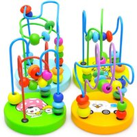 Wholesale 1Pc Children Kids Colorful Wooden Mini Around Beads Educational Toy A00001 BRE