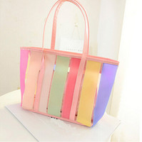 Wholesale Jell Transparent Bags New Fashion Handbags Candy Color Stripe Beach Bag Women Handbags Sweat Lady Handbag