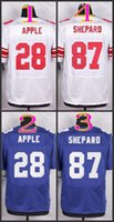 apple orders - NIK Elite Football Stitched Giants Apple shepard blue white Jerseys Mix Order