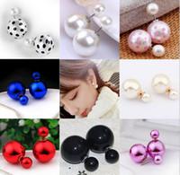big gold stud earrings - Double Sided Pearl Earrings mm Big Shining Pearl Stud Earrings Candy Colors Charm Dot Spot Ball Earring Jewelry For Women Christmas Gift