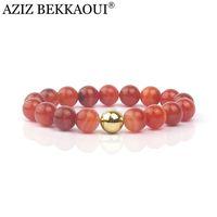 beaded chain braclets - Fashion Colorful Natural Stone Bead Bracelets For Women Wrap Beads Braclets Bangles Red Agate Sardonyx Bead Bracelet KSB027