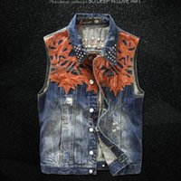 Wholesale Fall Vintage High Quality New Fashion Mens Single Breasted Sleeveless Vests Jean Jackets Cowboy Motorcycle Waistcoats Plus Size