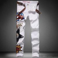 Wholesale Designer skinny jeans for men famous brand cotton vaqueros hombre mens slim elastic jeans denim White Biker Hip Hop Casual man Trousers