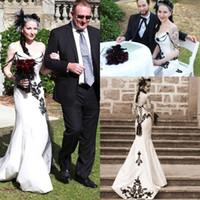 al por mayor vestidos de novia estilo sirena negro-2016 del cordón del amor de la sirena vestidos de boda del estilo de país posterior del corsé de los vestidos elegantes apliques de encaje Negro Novia de novia de la vendimia