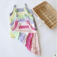 Wholesale Baby Girl Tank Top Summer Cotton Tank Tops Lace Bow Vest Tops Toddler Infant Kids Summer Clothes Multicolor Tops for Girl