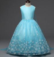 Wholesale 2016 Frozen summer dress girls princess dress embroidered skirt Europe Tutu