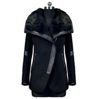 Wholesale New Winter Black Turn Down Fur Collar Warm Wool Coat Women s Leather Zipper Jacket Outerwear Size S XXXL L42