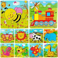 Wholesale New Multicolor Animals Wooden Pieces Colorful Jigsaw Puzzle Toy Toddler for Kids LAH