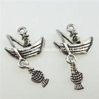 alloy fishing boat - 13011 Alloy Vintage Silver Fisherman Fishing on The Boat Dangle Pendant