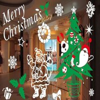 Wholesale Merry Christmas Red Color Wall Sticker Wall Decoration Wall Art Designed Self Clings Stickers for Windows Mirrors Christmas Window Decor