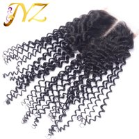 accessories curly hair - Top quality Cheap Unprocessed Brazilian Peruvian Malaysian Indian Human Kinky Curly Hair x4 Top Lace Closue inch Grade A