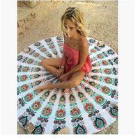 Wholesale Tassel Beach Towel New Round beach towel cm Bohemia Tassel Knitted beach towel blanket Cotton Beach towels Styles