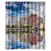 beach house curtains - USA Houses Rivers Bridges Sky West Palm Beach Florida Custom x180cm Fashion Waterproof Fabric Bath Shower Curtain