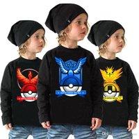 baby logo t shirts - Poke Go Logo T Shirt Designs Black Spring Autumn Pocket Monster Long Sleeve Clothes Cartoon Poke Mon Go Cotton Baby Clothing