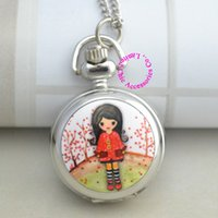 antique silver buyers - new silver classical pink red flower tree fashion girl pocket watch necklace with chain buyer price good antibrittle