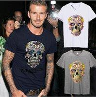 beckham t shirts - Hot Sell Male v neck T shirt beckham multicolour skull print D breathable Men short sleeve Plus Size M XXXL