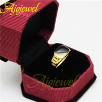 Wholesale Ajojewel Brand Size Hollow Out Design Fashion Classic Black Enamel Rhinestone Golden Rings For Men and Women