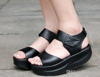 Cheap New Nice Brand Summer Women Open Toe High Heel Sandals Fashion Roman Shoes Female Swing Shoes Ladies Wedge Platform Sandals black #511