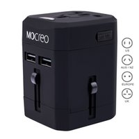 Wholesale MOCREO Travel Adapter International Travel Charger Wall Charger Adapter Plug Built in A Dual USB Ports Safety Fuse Protection Black