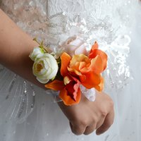 beautiful christmas stocking - Beautiful Orange Wedding Party Guest Bridesmaid Bridal Wrist Corsage for Bride CM CM In Stock Silk Flowers Wedding Decoration Cheap