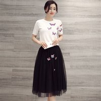 american football dress - Crew Neck knitting Shirt with Pearl and Butterfly Black Organza Skirt Women Summer Dresses High Quality for Party