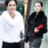 artificial fur coats - Fur Faux Fur Coat For Women Imitation fox fur collar Jacket Female Artificial Coats Fashion Clothing