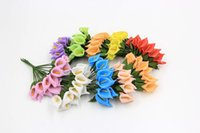 Wholesale Craft Wreaths Wholesale - 12pcs Mini Foam Calla Handmake Artificial Flower Bouquet Wedding Decoration DIY Wreath Gift Box Scrapbooking Craft Fake Flower