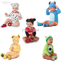 Wholesale Newborn Cartoon Baby Clothing Sets Long Sleeve Infant Rompers Cows Animal Baby Boys Girls Costume Tops Hat Roupa Recem Nascido
