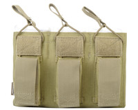 airsoft pistol accessories - Airsoft Combat Pistol Triple Open Top Magazine Pouch Accessory Paintball Army Outdoor Utility Pouch Khaki