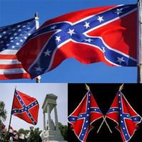 al por mayor 3 banderas 'x 5'-DHL liberan dos partes impresas confederada de la bandera de la bandera nacional de poliéster 5 X 3 pies bandera de la Confederación rebelde rebelde guerra civil 100Pcs 0345
