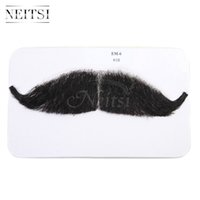 Wholesale Neitsi Brand New Beard Human Hair Full Hand Tied Fake Mustache Black Whisker PC For Children Adult Party Halloween Cosplay