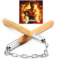 Wholesale Bruce Lee Chinese Kongfu wooden Nunchakus Nunchaku Metal Swivelstandard model learning dedicated Fitness Martial Arts Equipment