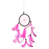 Wholesale Best Gift India Style Handmade Romantic Pink Red Dream Catcher Feather Bead Handmade Hanging Decor Ornament cm