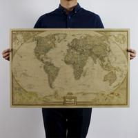 antique televisions - Vintage Retro Matte Kraft Paper World Map Antique Poster Wall Sticker Paper Home Decora Decals for Walls