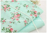 Wholesale Hand painted rose bouquet green background small grid tc cotton twill percale material Manual Bedding Skirt quilt DIY mixed